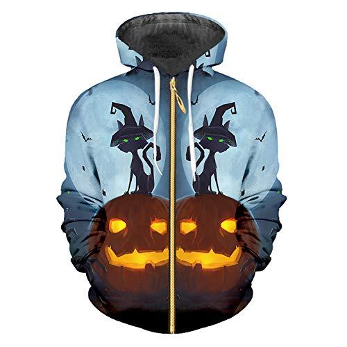 Ai Ya-weiyi Halloween Ghost Muster 3D Gedruckt Zip Hoodies Flamme Kürbis Und Schwarzen Schloss Großhandel Für Männer Straße Kleidung