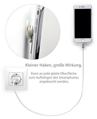 MyGadget Fingerhalterung optimalen Einhandbedienung Fingerhalter Griff Smartphone Handy u.a. iPhone 7, 6, Plus, Samsung Galaxy S6, S7, Edge in Silber Pink
