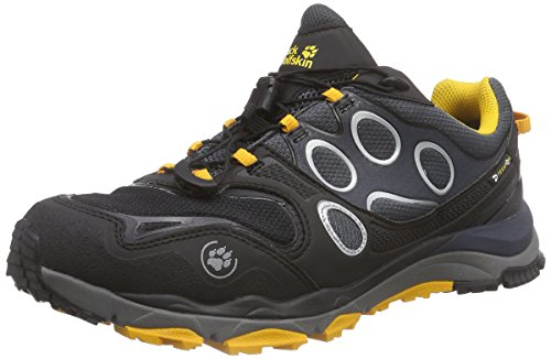Jack Wolfskin TRAIL EXCITE TEXAPORE LOW M, Herren Outdoor Fitnessschuhe, Schwarz (burly yellow 3800), 43 EU (9 Herren UK)
