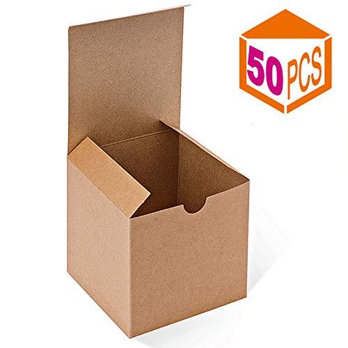 raun Boxen 50Stück 10,2x 10,2x 10,2cm, Papier Geschenk-Boxen mit Deckel für Geschenke, Tassen, Cupcake Boxes ()