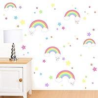 Rubybloom Designs Rainbows, Clouds, Stars & Hearts - Girls Peel & Stick Art Vinyl Wall Stickers