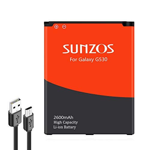 SUNZOS Akku für Samsung Galaxy J3 (2016) / SM-J320F / Galaxy J5 (2015) / SM-J500F / Galaxy Grand Prime SM-G530F Ersatz Original EB-BG530BBE/BG531 Batterie (2600mAh) - 3 Jahre Garantie