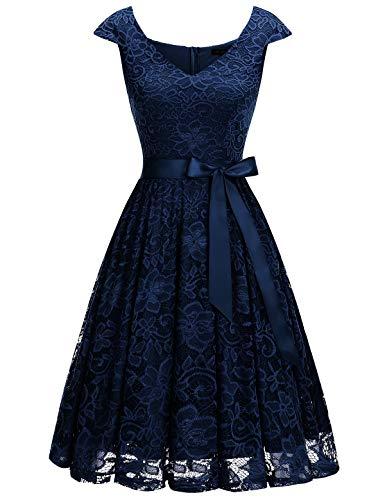 Meetjen Damen Elegant Spitzenkleid V-Ausschnitt festliches Cocktailkleid Abendkleider Navy L