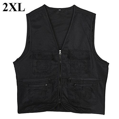 Vgeby1 giacca da pesca gilet, multi-tasche capispalla pesca gilet multifunzionali accessori da esterno(xxl-nero)