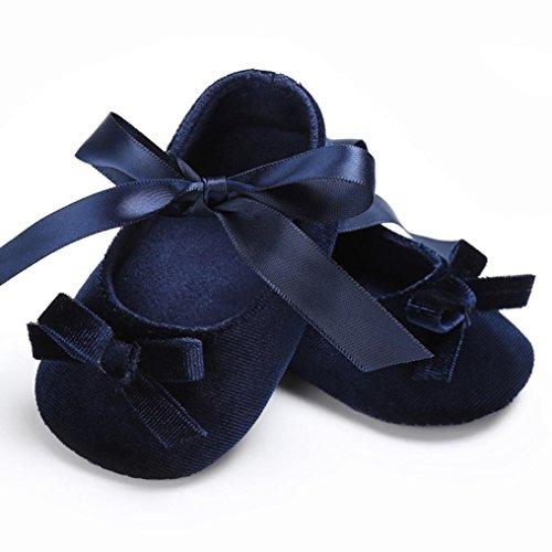 Baby Krippeschuhe, Babyschuhe Longra Kleinkind Baby Mädchen Schuhe Princess Flower Soft Prewalker Lauflernschuhe weiche Sohle Baumwolle rutschfeste Schuhe(0 ~ 18 Monate) Blue