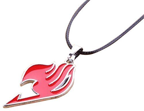 New Costume Anime Fairy Tail Natsu Dragneel Guild Cosplay Red Pendant Necklace Accessories ()