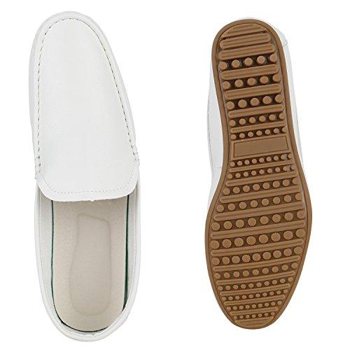 Herren Mokassins Bequeme Slipper Lederoptik Freizeit Schuhe Weiß