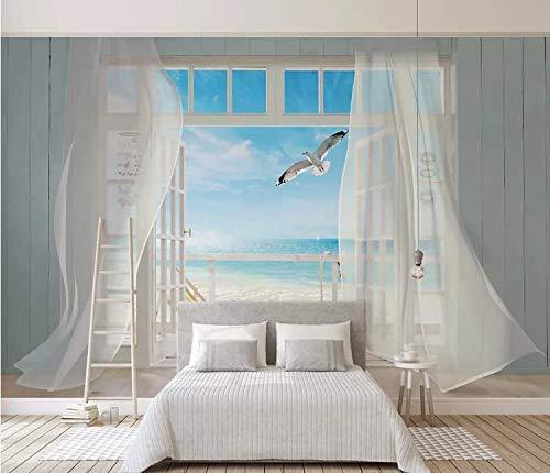 Tapete 3D-Stereo-Fenster außerhalb des Meerblick-Hintergrundbildes, 250cm * 175cm (Außerhalb Palmen)