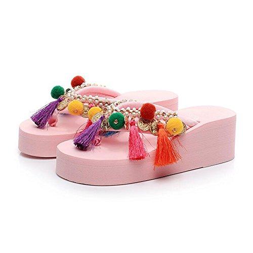 Estate Sandali Sandali pesanti nazionali bassi handmade dei pistoni femminili di modo di estate di 5.5cm (nero / beige / azzurro / dentellare / bianco) Colore / formato facoltativo Rosa