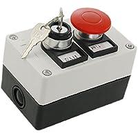 Sourcingmap a11090800ux0200 - Cerradura de llave de encendido/apagado cambiar seta roja estación de botén pulsador