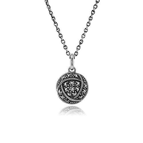 Gemondo in argento Sterling, Marcasite Rennie Mackintosh ispirato Marcasite Collana (Rennie Mackintosh Gioielleria)