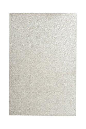 havatex Hochflor Shaggy Teppich Florenz - Schwarz, Petrol, Lila, Creme, oder Grau edel meliert | pflegeleicht strapazierfähig | Wohnzimmer Schlafzimmer, Farbe:Creme, Größe:180 x 200 cm