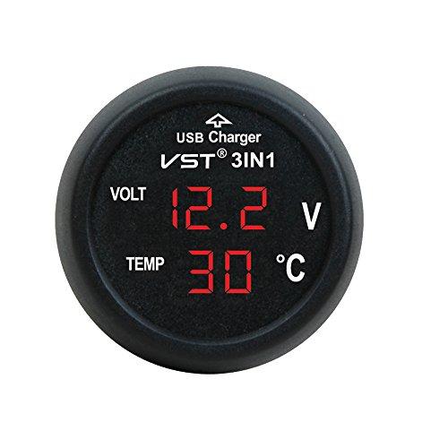 3in1 Auto Zigarettenanzünder mit USB-Anschluss Digital 12V/24V Voltmeter Thermometer Multi-Funktion KFZ Ladegerät (Rot)