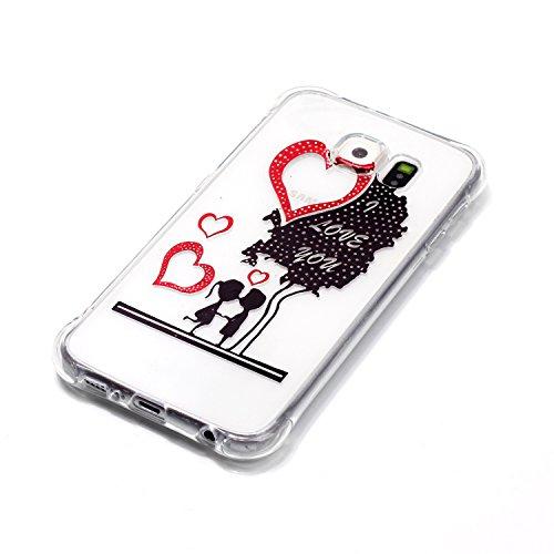 Samsung Galaxy S6 Coque,Samsung Galaxy S6 Gel Motif métallique TPU Case Feeltech Apple iPhone SE Case Silicone Clair Ultra Mince Premium Bumper iPhone 5S Housse Légère Étui Protecteur Transparente Sou Je t'aime arbre