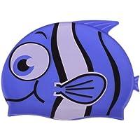 domybest gorros de natación, niños Cartoon Animal pescado con forma de gorro de natación para niños y niñas, azul