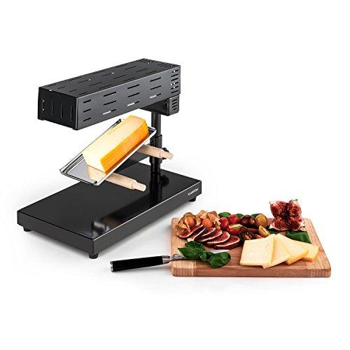 KLARSTEIN Appenzell 2G Schweizer Raclette Grill - fonduta, griglia da tavola, Stand, Fusione Tradizionale del Formaggio, 600 Watt, Temperatura Regolabile Continua, Piatto Grill, Nero