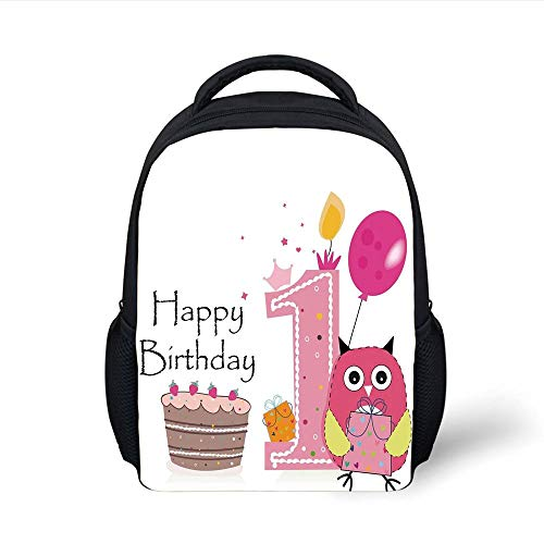 1st Birthday Decorations,First Birthday Cake Candle Sketchy Cartoon Owl Image,Brown Hot Pink and Pink Plain Bookbag Travel Daypack ()