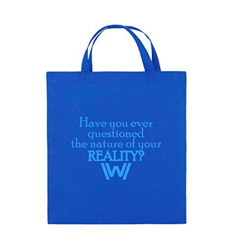 Comedy Bags - Have you ever questioned - WESTWORLD - Jutebeutel - kurze Henkel - 38x42cm - Farbe: Schwarz / Silber Royalblau / Blau