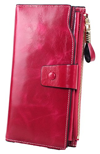SQLP Women's Large Capacity Luxury Wax Genuine Leather Wallet With Zipper Pocket (Rose Red)