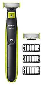 Philips OneBlade Hybrid Trimmer & Shaver with 3 x Lengths & 1 Extra Blade Amazon Exclusive (UK 2-Pin Bathroom Plug) - QP2520/30