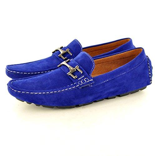 Herren-Mokassins aus Kunst-Wildleder, Slip-On-Schuhe, Halbschuhe Blau