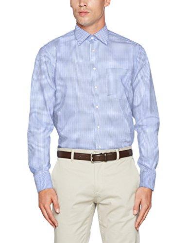 Seidensticker Herren Businesshemd Modern Langarm mit Kent-Kragen bügelfrei,Mehrfarbig (16 Karo weiß blau), 42 CM