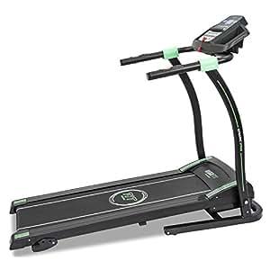 Tapis de course professionnel fitness. Pulsomètre et écran LED. 12 programmes. Jusqu'à 14 Km/h. Pliable automatiquement. Système de sécurité magnétique.