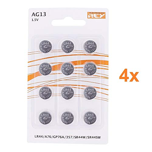 Pack 48 batterias ag13 1,5v, batteria a bottone al litio, lr44, a76, gp76a, 357, sr44w, sr44sw, elettronica re®