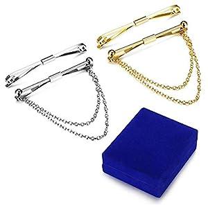 Milacolato 4pcs Silber Gold Ton Herren Krawatte Kragen Bar Pin Set für Hochzeitsgeschäft mit Geschenk-Box