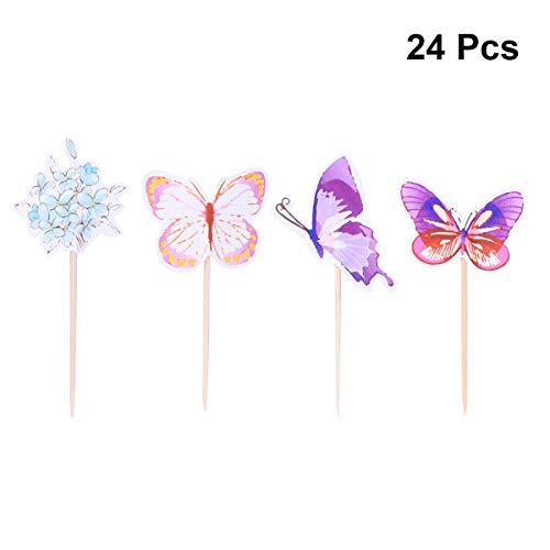 Schmetterling und Blume Kuchen Topper Cupcake Picks Deko Kuchendekoration für Baby Mädchen Kindergeburtstag Hochzeit Party ()