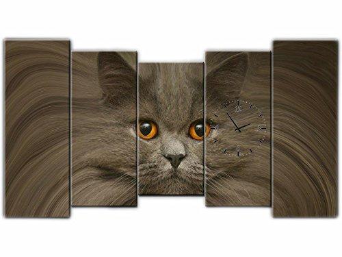 5piezas Lienzo imágenes Reloj de pared gato–cuadro de lienzo restaurante Oficina Hotel Salón de Universidad doméstica Reloj 150x 80lwb292