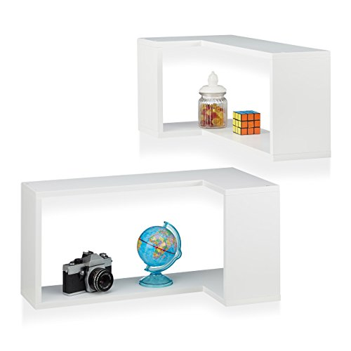 Relaxdays 10021878_49 set 2 mensole da parete ad angolo, a scomparsa, decorative, design moderno, cameretta, legno mdf, bianco