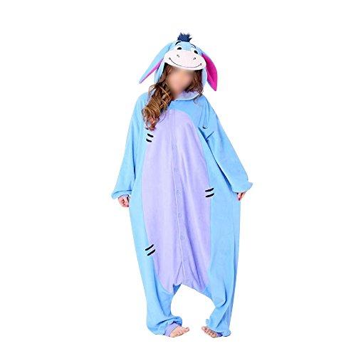 Anbelarui Tier Skelett Pinguin Dinosaurier Panda Einhorn Kostüm Damen Herren Pyjama Jumpsuit Nachtwäsche Halloween Karneval Fasching Cosplay Kleidung S/M/L/XL (L, Esel)