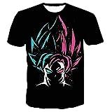GOTH Perhk Homme Dragon Ball Tee Shirt Impression 3D à Manches Courtes Col Rond Tops Eté Anime Japonais T-Shirt (Noir, L)