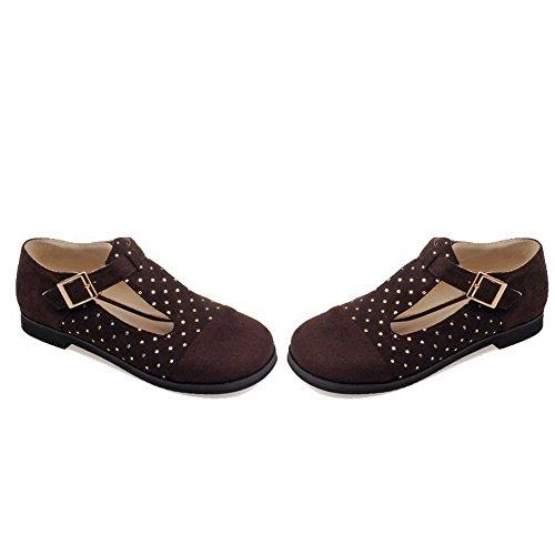 AllhqFashion Femme Couleurs Mélangées Dépolissement Non Talon Rond Boucle Chaussures à Plat Brun