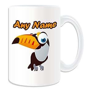 Cadeau personnalisé–Grand mug Toco Toucan (Thème Animaux Motif oiseaux, blanc)–N'importe Quel Nom/Message sur votre mug unique–Big Mouth