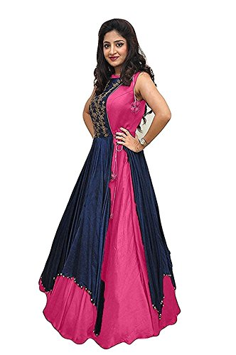 Gowns for women party wear long fancy silk embroidered semi-stitched Indo Western, Latest designer party wear salwar suits lehenga choli for wedding function, low price anarkali dress long kurti for girls (Pink)  available at amazon for Rs.399