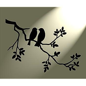 style shabby chic pochoir 2 oiseaux dans un arbre rustique style vintage format a3 420 x 297 mm. Black Bedroom Furniture Sets. Home Design Ideas