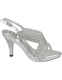 4f184ecae940 Chic Feet Womens Party Diamante Evening Wedding Bridal Prom Mid Heel Sandals
