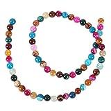 """Pandahall Precio del 1 Pieza Ágata piedra preciosa natural hebras de perlas ronda, teñido, color mezclado sobre 63 unidades / cadena, 15.35"""""""