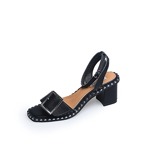 Sommer,nieten sie,chunky heel sandalen/dame,schnalle fersen-A Fußlänge=23.3CM(9.2Inch) (Denim Ferse Mule)