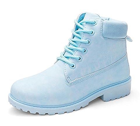 Minetom Martin Bottines À Lacets Femme Hiver Chaudes Bottines de Neige Randonnée en Plein Air Plateforme Chaussures Plates Bleu EU 38