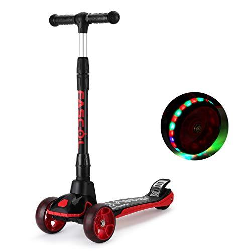 Fascol Kinderroller Kinder Scooter Höhenverstellbarer Faltbar Roller mit 4-PU Blinkenden Räder Tretroller für Kinder ab 3 Jahren, Belastbarkeit bis 60 kg, Schwarz