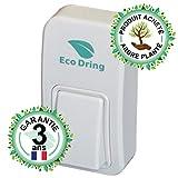 EcoDring Sonnette sans Fil sans Pile ECO  Garantie Française 3 Ans  portée jusqu'à 80 mètres, résistant à l'eau IPX7 + Stickers pour nom + phosphorescents 25 mélodies