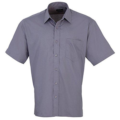 Premier Popelin Herren Hemd, kurzärmlig (Kragenweite 43 cm) (Stahl) (Shirt Stahl-jungen)