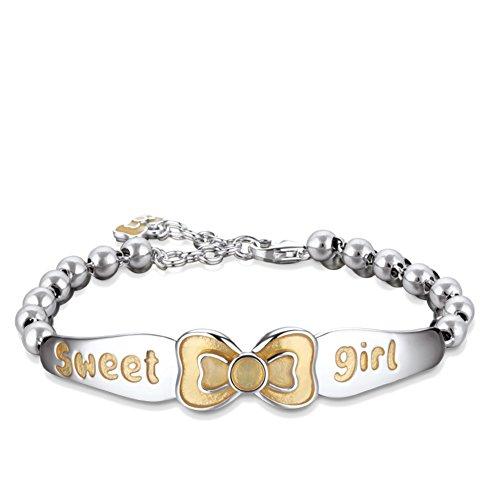 925 Silver bracelet plaqué platine/Bracelets mère argent de bow du sentiment A