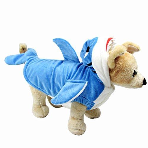 NACOCO Hund Shark Kostüm Süsse Haustier Kleidung Halloween Urlaub Mantel Hoodie für Katzen und Hunde, L, Blau