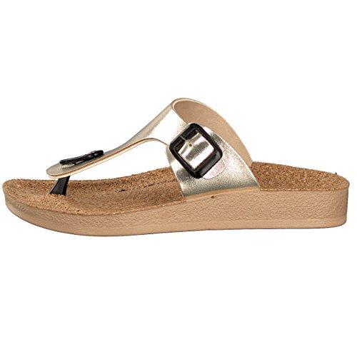 BRANDSSELLER Elegante und Exklusive Damen Zehenpantolette Zehentrenner Freizeitschuhe Strandschuhe Schuhe - mit Korkfußbett - Farbe: Gold, 38