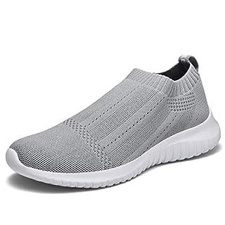 TIOSEBON Womens Trainers Slip On Lightweight Casual Mesh Walking Shoes 7 UK Light Grey 40 EU Label Size Asian 41