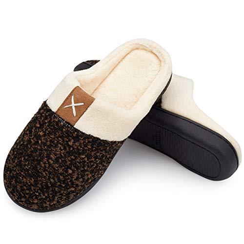 Herren Hausschuhe Weiche Memory Foam Plüsch Haus Schuhe Warme Winter Hausschuhe Anti-Slip Leichtes Braun 42/43